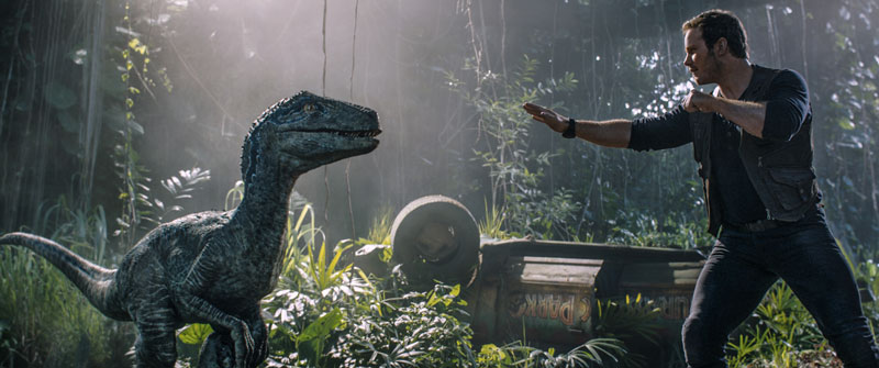"""Der Dino-Bändiger Owen Grady und Velociraptor Blue als Weggefährten in """"Jurassic World"""""""
